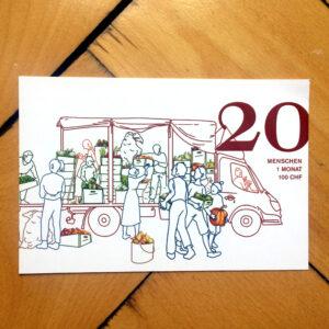 Geschenkkarte - Essen für 2 flüchtlinge während einem Monat